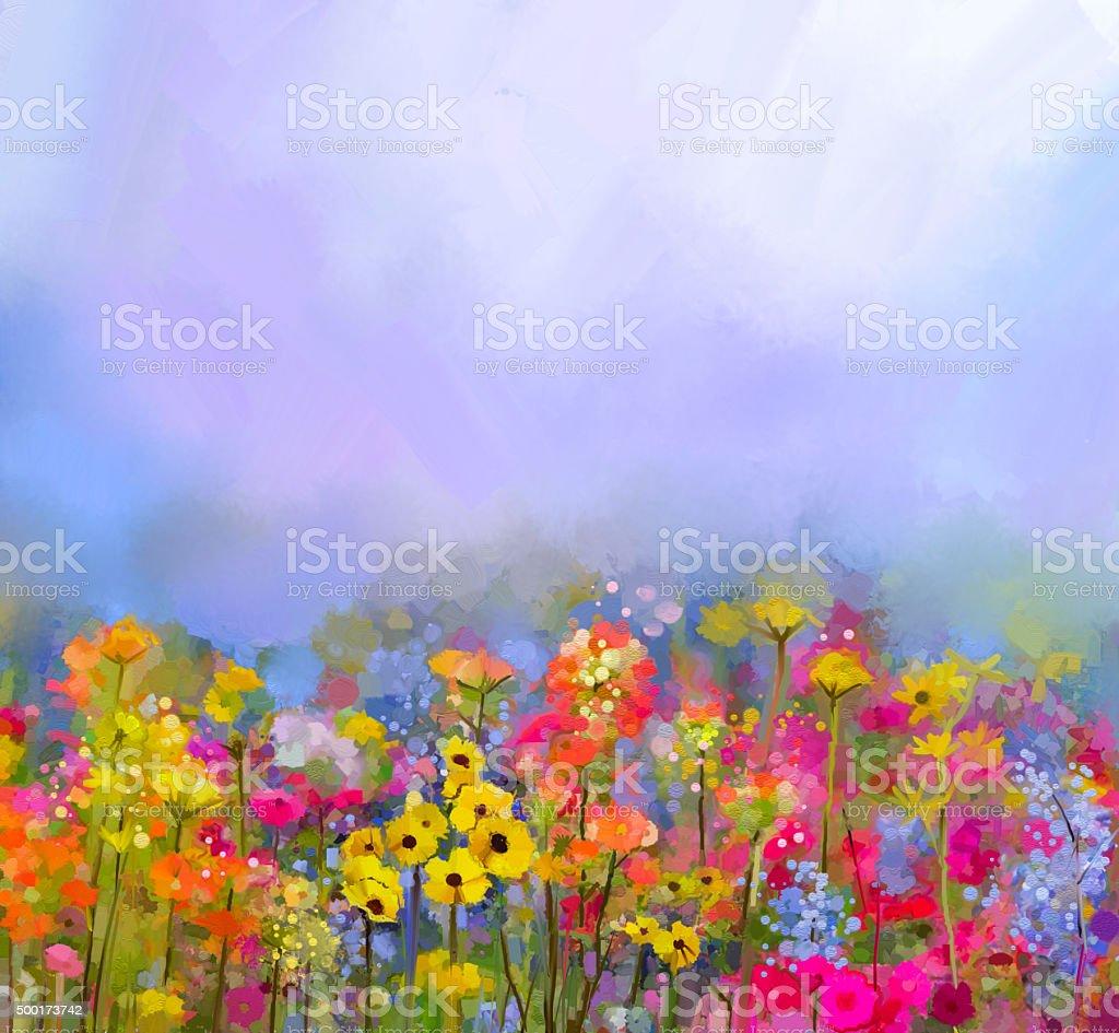 Pittura A Olio Dellestate Di Fiori Di Primavera Paesaggio Con ...