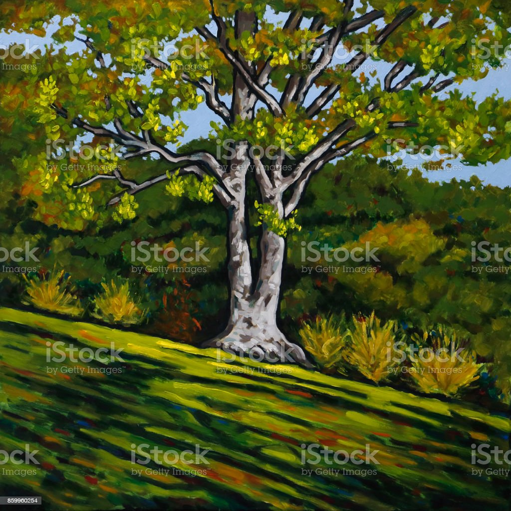 Oil Painting of Sunlight Splashing on a Tree on Green Grassy Hillside vector art illustration