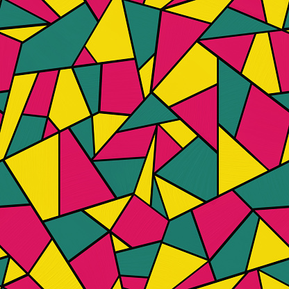 Oil painting pattern with yellow, crimson and green geometric shapes with black outline.