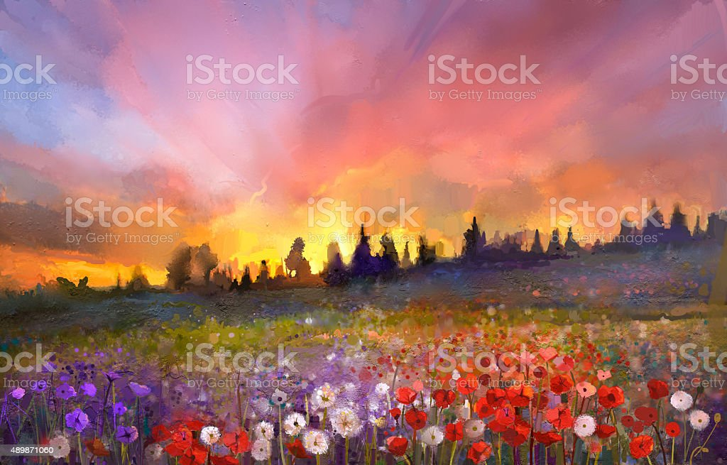 Oil painting poppy, dandelion, daisy flowers in fields vector art illustration