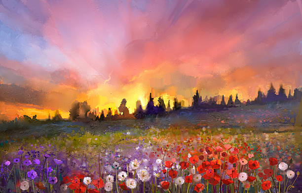 Oil painting poppy, dandelion, daisy flowers in fields Oil painting poppy, dandelion, daisy flowers in fields. Sunset meadow landscape with wildflower, hill, sky in orange and blue violet color background. Hand Paint summer floral Impressionist style impressionism stock illustrations