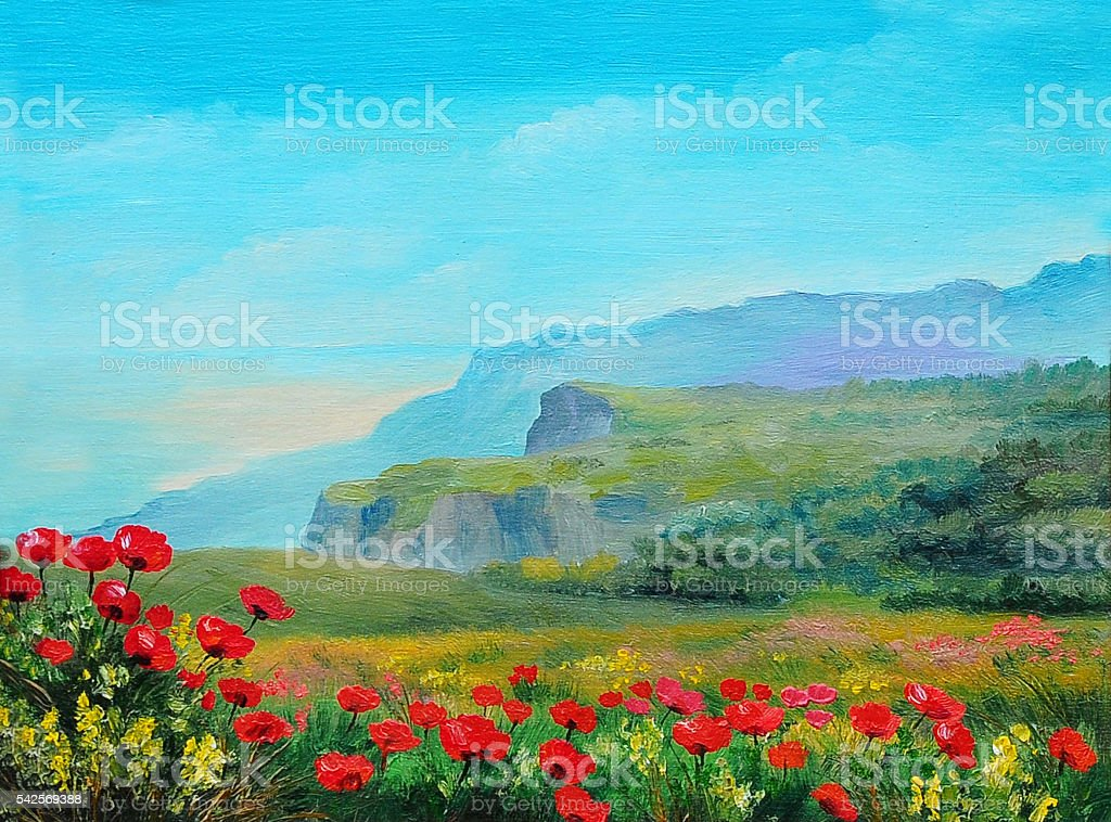 oil painting poppy field in the mountains まぶしいのベクターアート