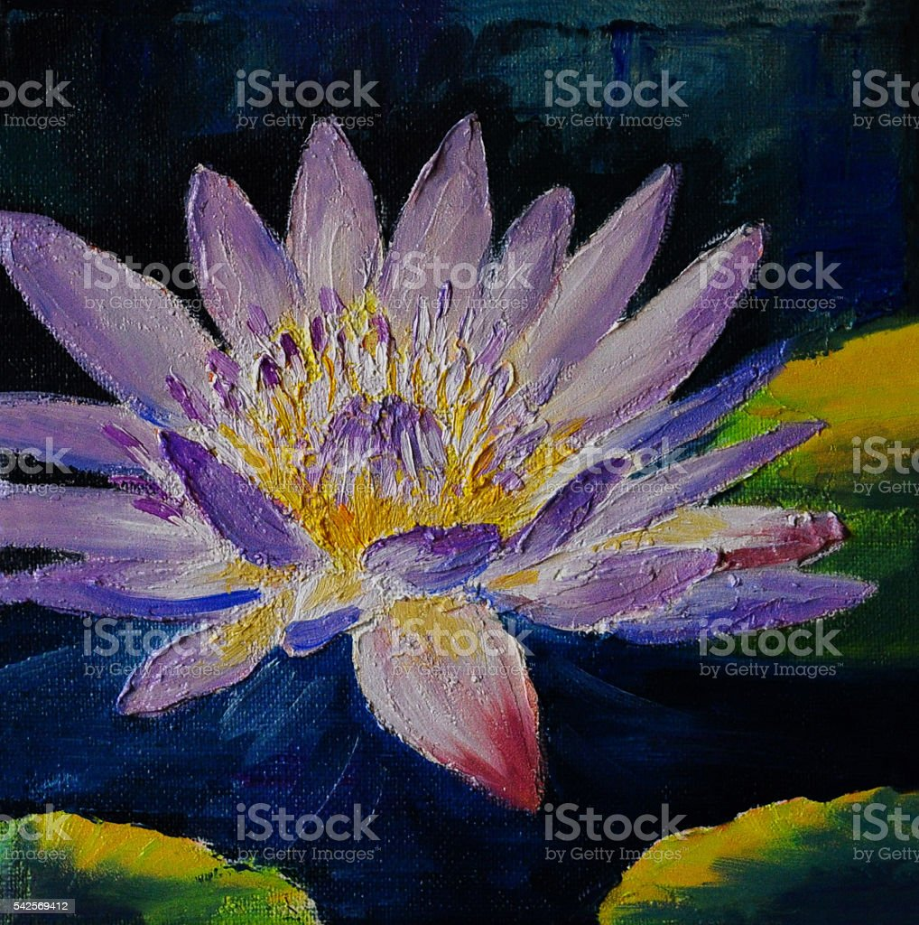 Oil Painting Purple Lotus Flower Abstract Drawing Stock Vector Art
