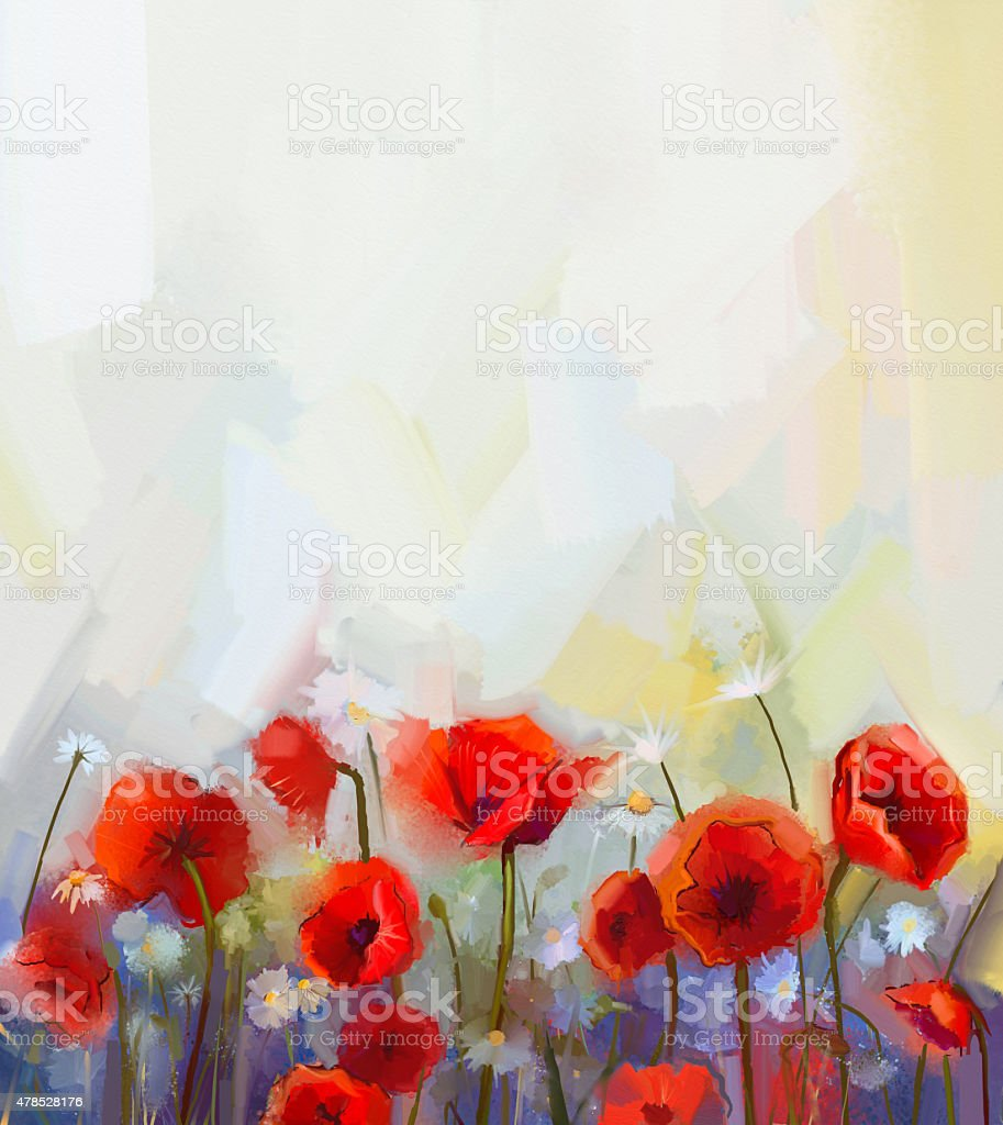 Oil painting red poppy flowers. vector art illustration