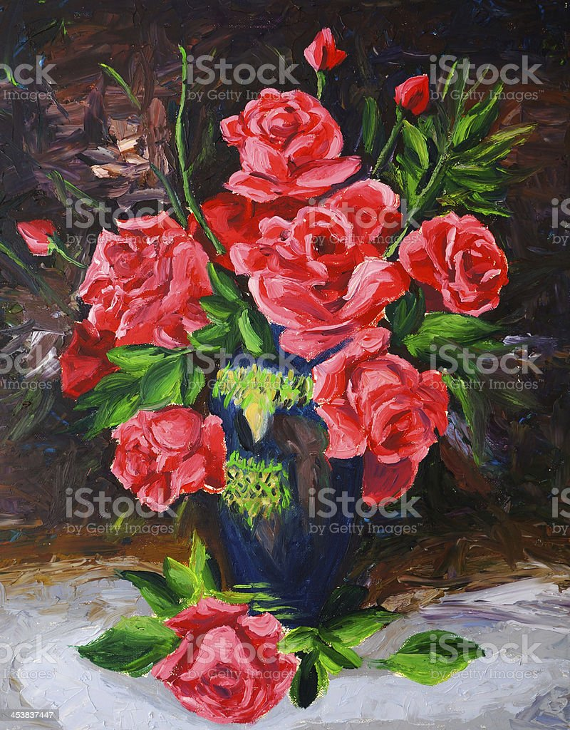 Oil Painting - Rose royalty-free stock vector art