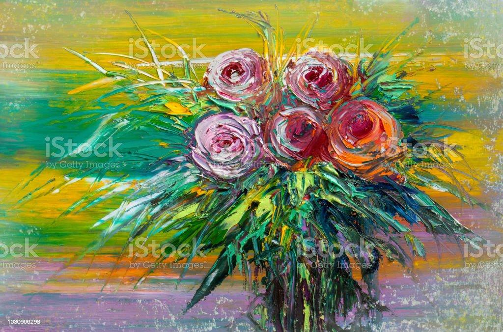 Pintura al óleo rosas - ilustración de arte vectorial