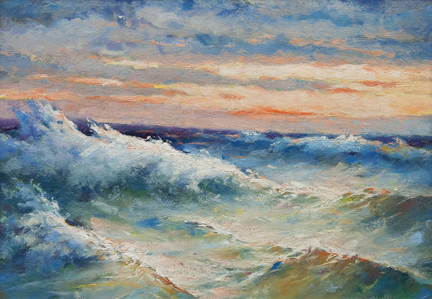 Oil painting - Sea waves during storm Oil painting showing sea waves on a stormy summer day. impressionism stock illustrations