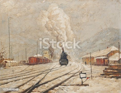 Oil painting showing steam locomotive moving on the railroad tracks during winter.