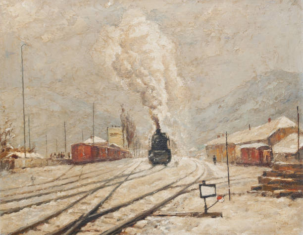 Oil painting - Steam locomotive in winter snow Oil painting showing steam locomotive moving on the railroad tracks during winter. impressionism stock illustrations