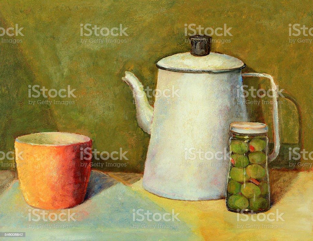 Oil painting still life of a coffee pot, cup, jar vector art illustration