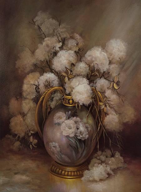 oil painting still life of carolina cotton gold leaf vase - oil painting stock illustrations