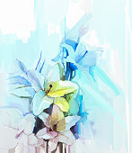 Still life of white color flowers with soft pink and blue background. Oil Painting Soft colorful Bouquet of lily flower. Hand Painted floral Impressionist style