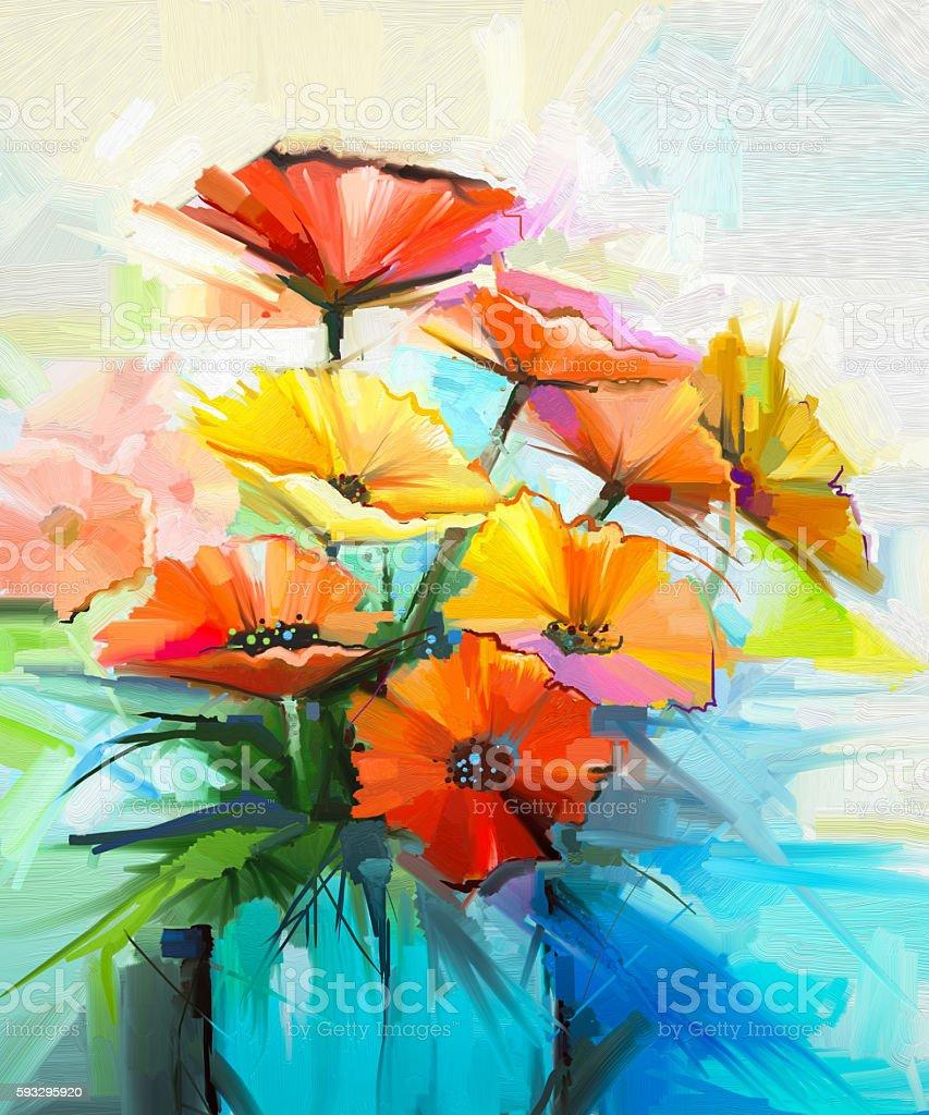 Oil painting still life of yellow, pink, red gerbera vector art illustration