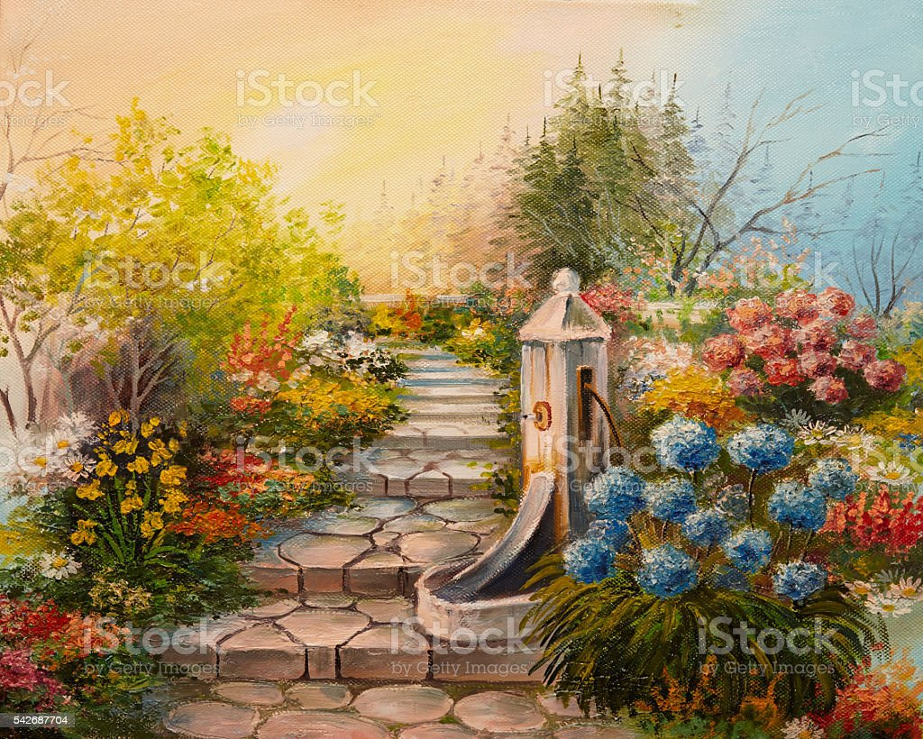 Oil Painting - stone stairs in the forest vector art illustration