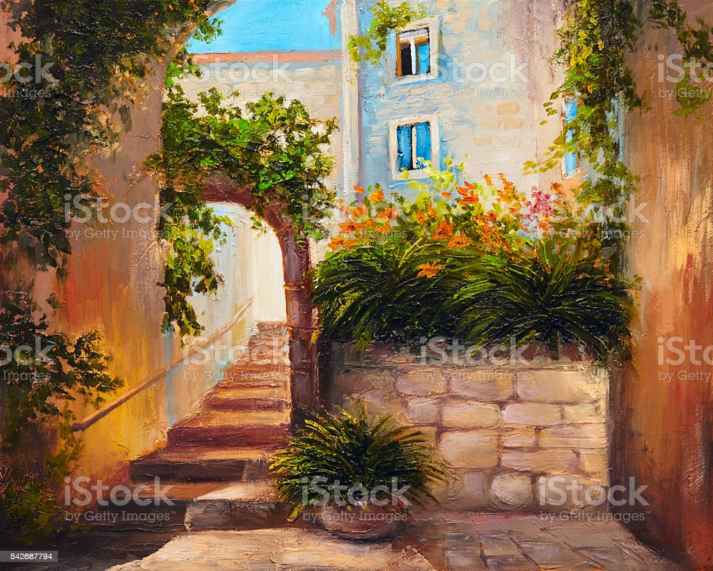 oil painting - summer street, blooming flowers. Colorful abstract art vector art illustration