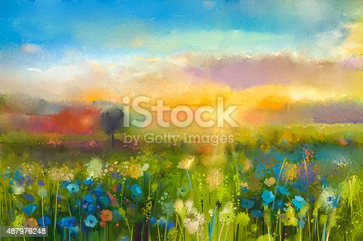 istock Oil painting  Sunset  meadow landscape with wildflower 487976248