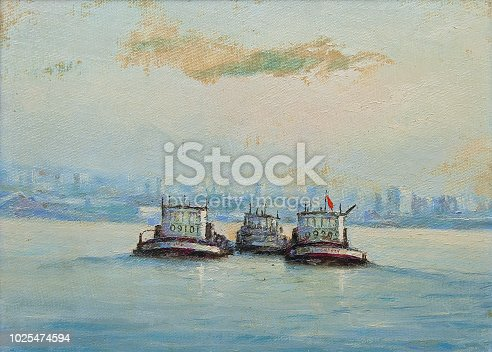 Oil painting showing tugboats on the sea in summer.