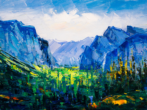 Oil Painting - Tunnel View at Yosemite National Park, California, America