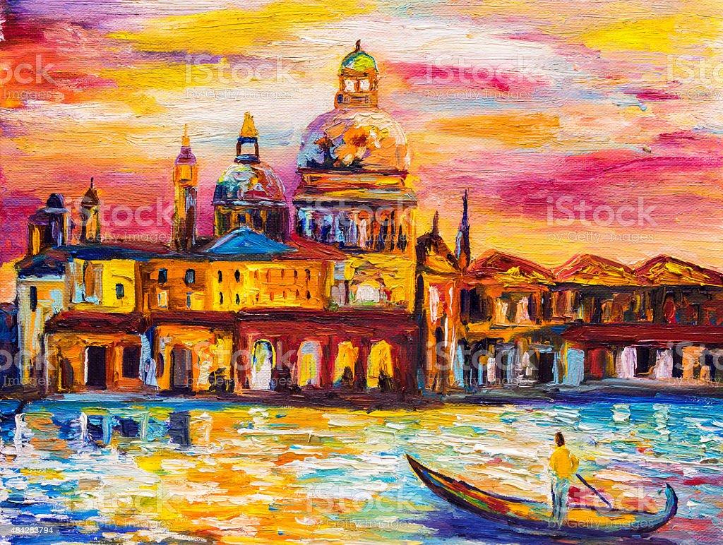 Oil Painting - Venice, Italy vector art illustration