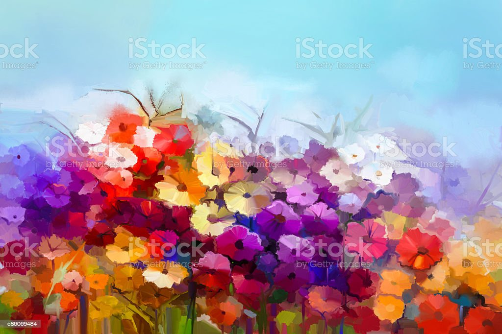 Oil painting white,yellow, red daisy, gerbera flower in field vector art illustration