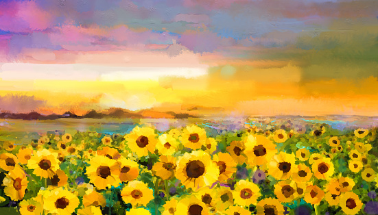 Oil painting yellow- golden Sunflower, Daisy flowers in fields.