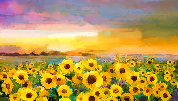 oil painting yellow- golden sunflower, daisy flowers in fields. - sunflower 幅插畫檔、美工圖案、卡通及圖標