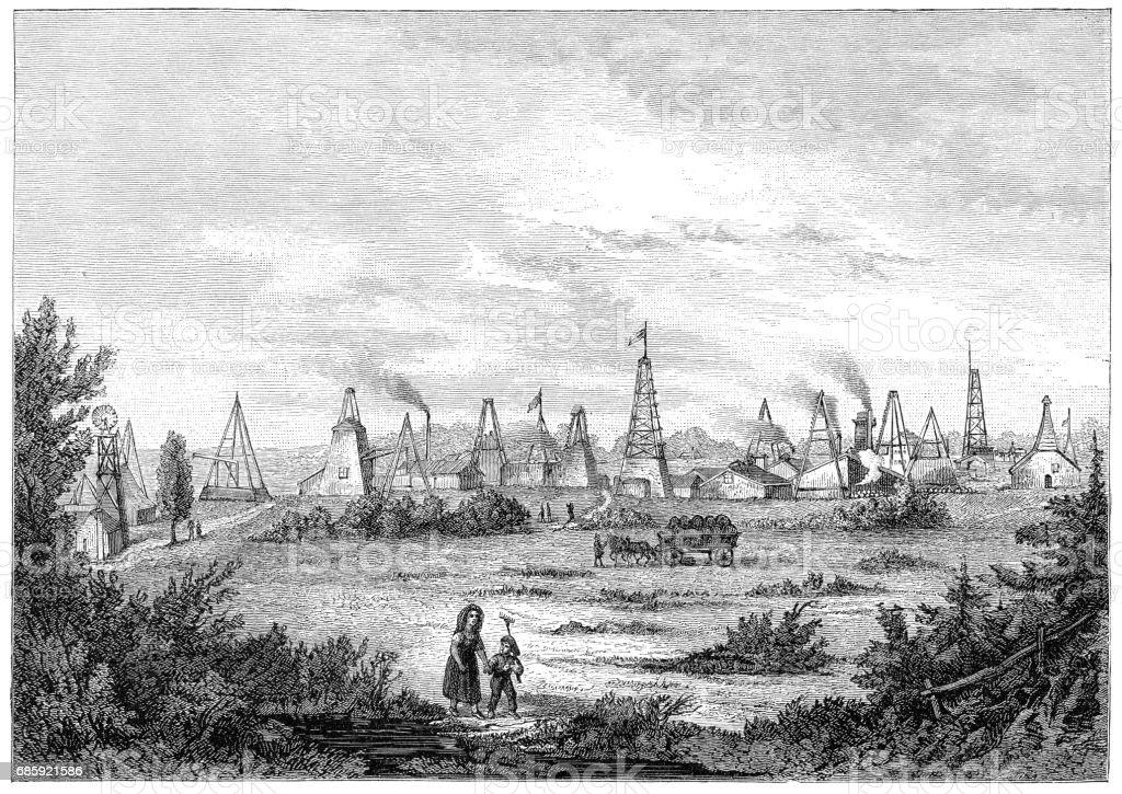 Oil rigs in Oelheim Germany finding petroleum 1881 vector art illustration