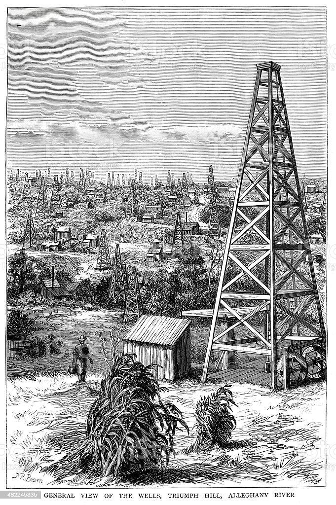 Oil Wells, Pennsylvania vector art illustration
