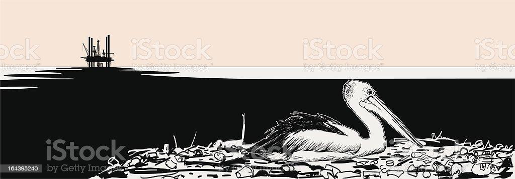 oiled pelicano royalty-free stock vector art
