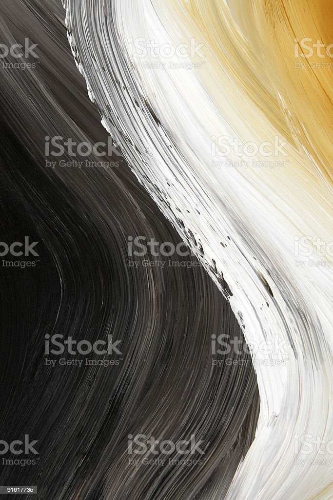 Oil-painted three-color curve vector art illustration