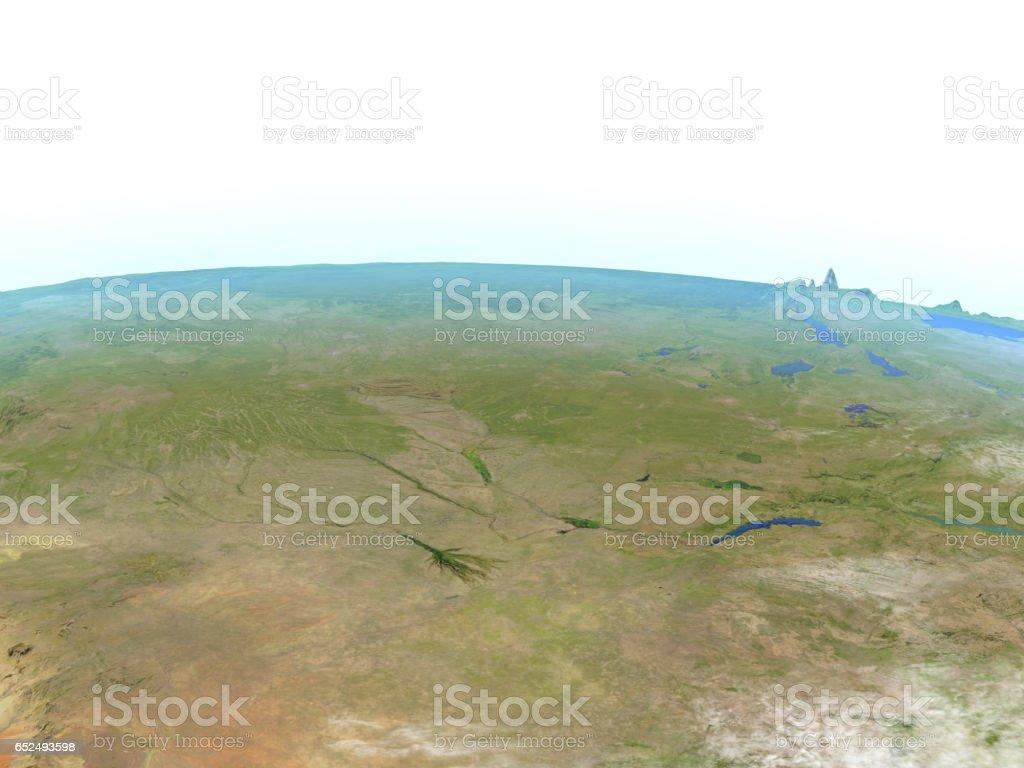 Okawango delta on planet Earth vector art illustration