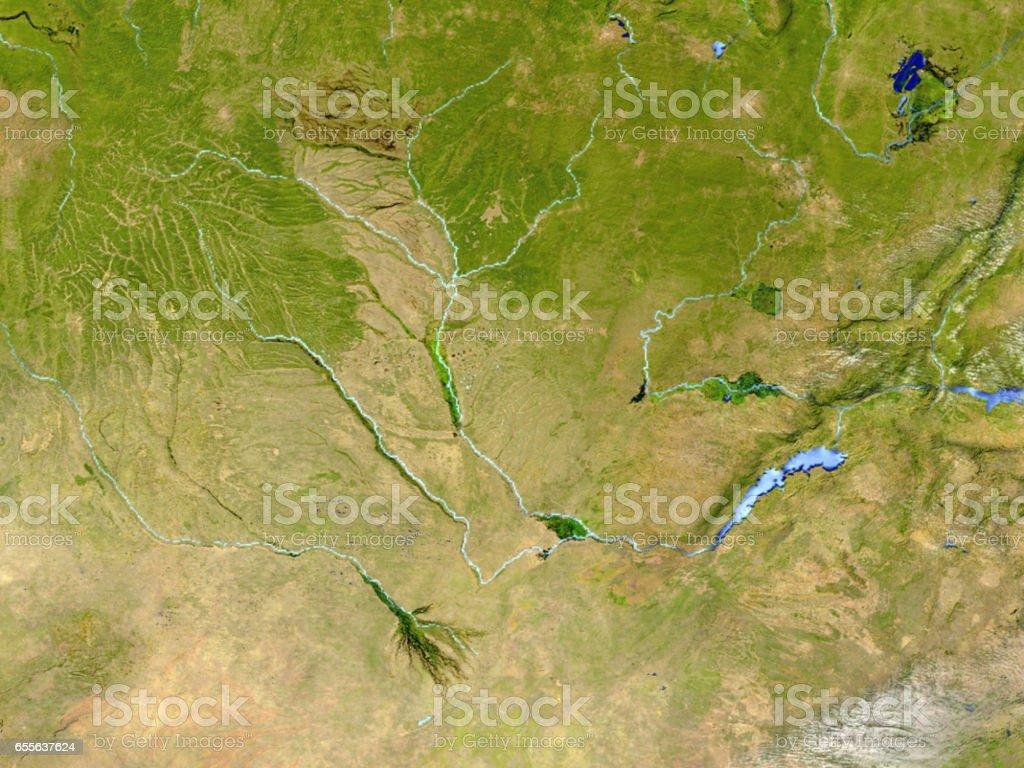 Okawango delta on realistic model of Earth vector art illustration