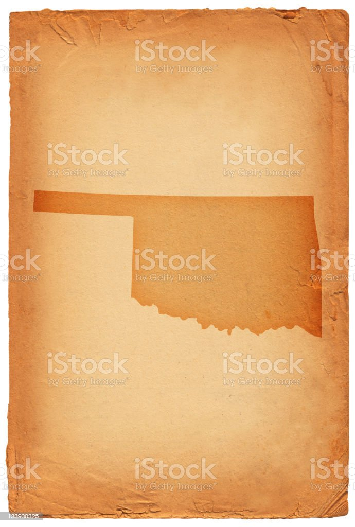 Oklahoma state map on old paper Background royalty-free oklahoma state map on old paper background stock vector art & more images of backgrounds
