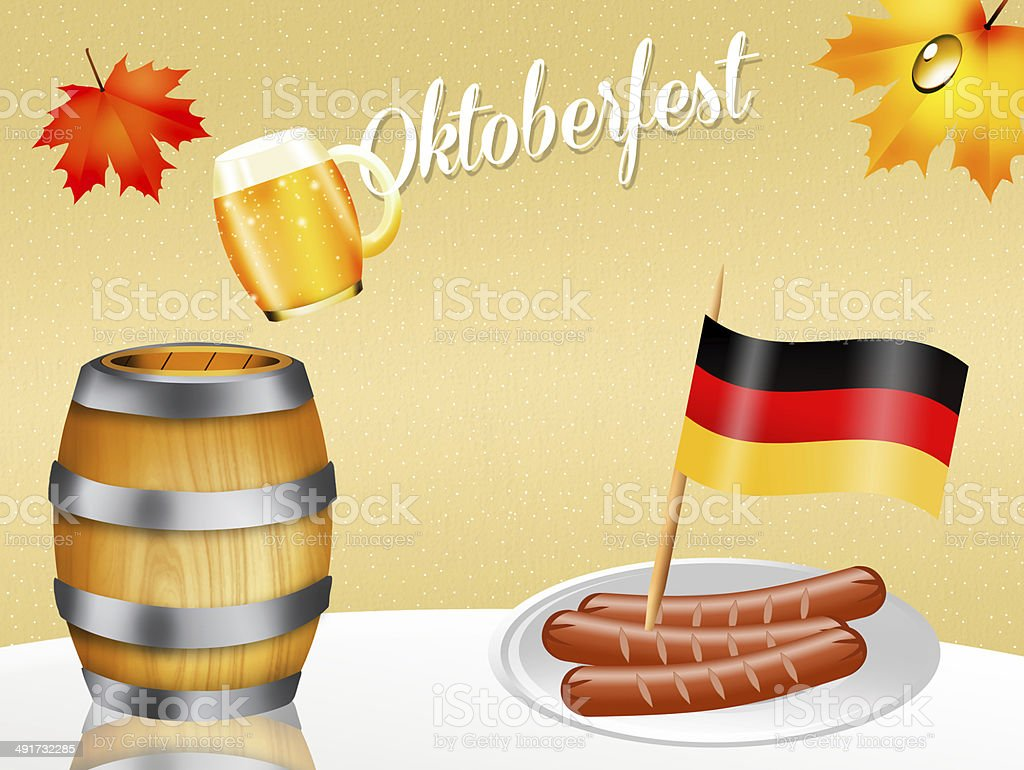 Oktoberfest beer and sausages royalty-free stock vector art