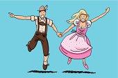 Oktoberfest Couple Dancing Together