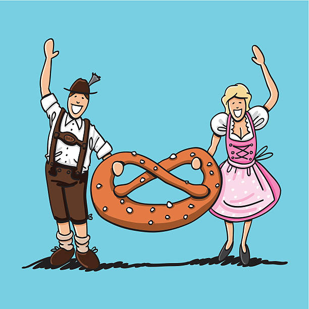 "Oktoberfest Couple With Large Pretzel ""Vector illustration of a waving bavarian couple in Dirndl and Lederhosen. They're holding a XXL Pretzel. The line art, color and background are on separate layers, so you also can use the illustration on your own background. The colors in the .eps-file are ready for print (CMYK). Included files: EPS (v8) and Hi-Res JPG."" doodle NOT black and white stock illustrations"