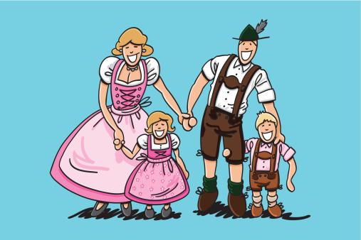 Oktoberfest Family Dirndl And Lederhosen