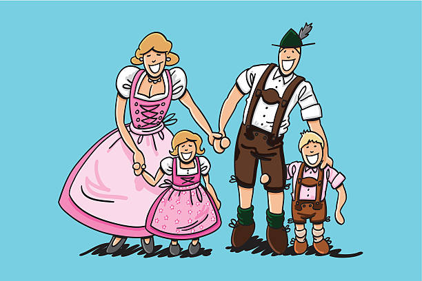 "Oktoberfest Family Dirndl And Lederhosen ""Vector illustration of a happy bavarian family in Dirndl and Lederhosen. The line art, color and background are on separate layers, so you also can use the illustration on your own background. The colors in the .eps-file are ready for print (CMYK). Included files: EPS (v8) and Hi-Res JPG."" doodle NOT black and white stock illustrations"