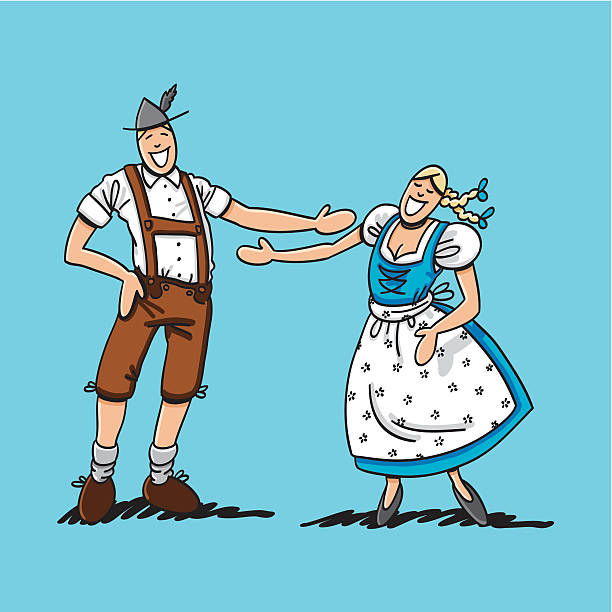 "Oktoberfest Lovers Happy About Each Other ""Vector illustration of a happy bavarian couple in traditional Dirndl and Lederhosen. The line art, color and background are on separate layers, so you also can use the illustration on your own background. The colors in the .eps-file are ready for print (CMYK). Included files: EPS (v8) and Hi-Res JPG."" doodle NOT black and white stock illustrations"