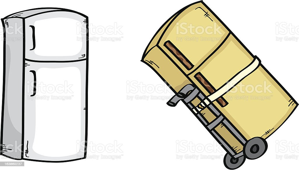 Old and New Fridge vector art illustration