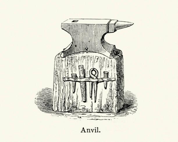 Old Anvil  and Blacksmith tools vector art illustration