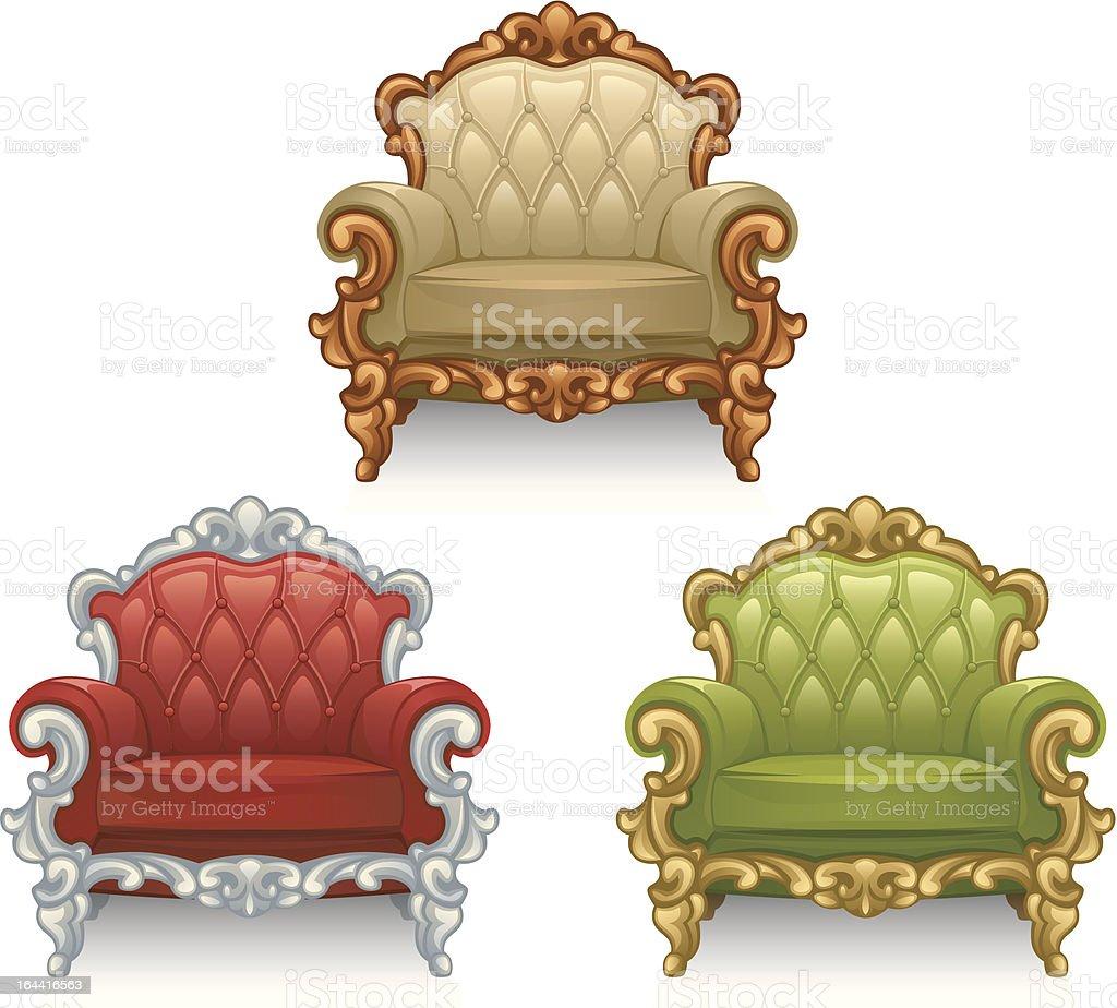 Old armchair vector art illustration