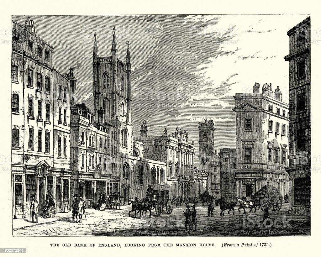 Old Bank of England, London, 18th Century vector art illustration