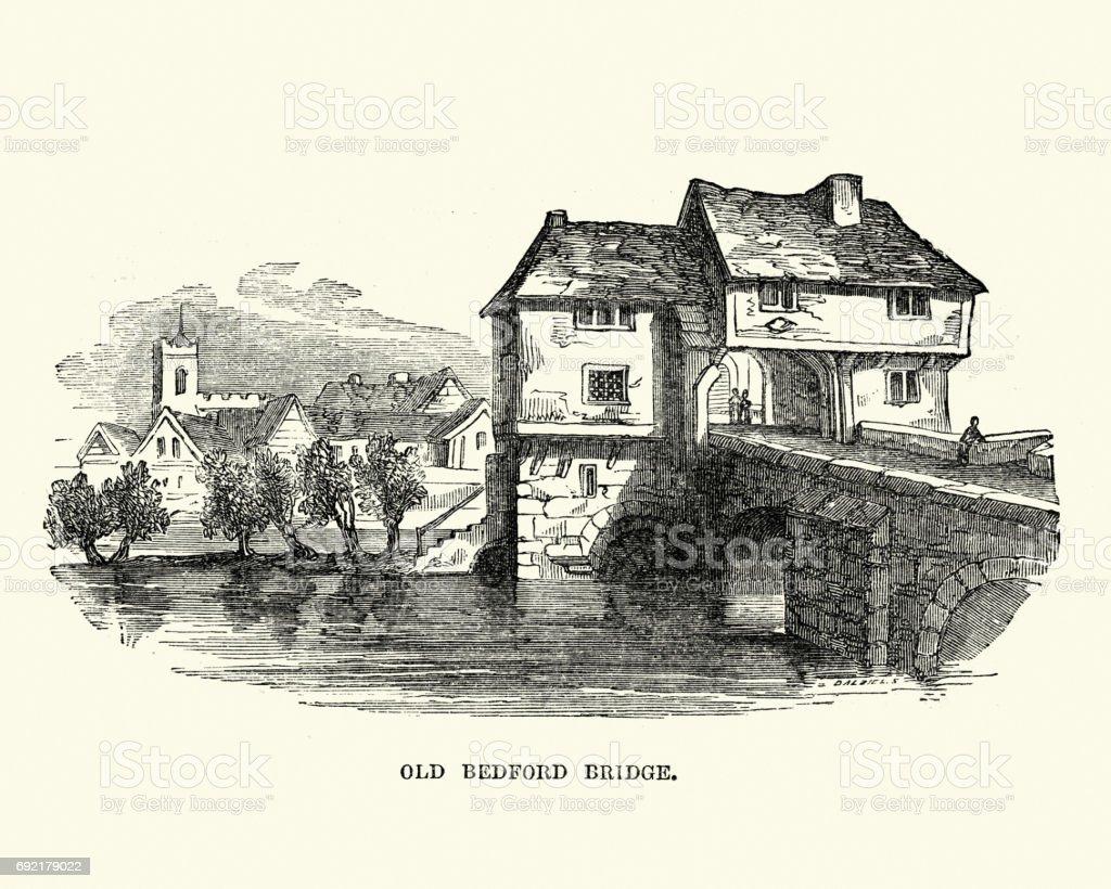 Old Bedford Bridge, Bedfordshire, England vector art illustration