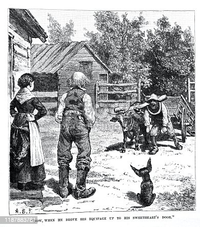 country black and white farming culture. Engraving  depicting a farming couple with dog, in farmyard with worker, ox and cart and farm buildings