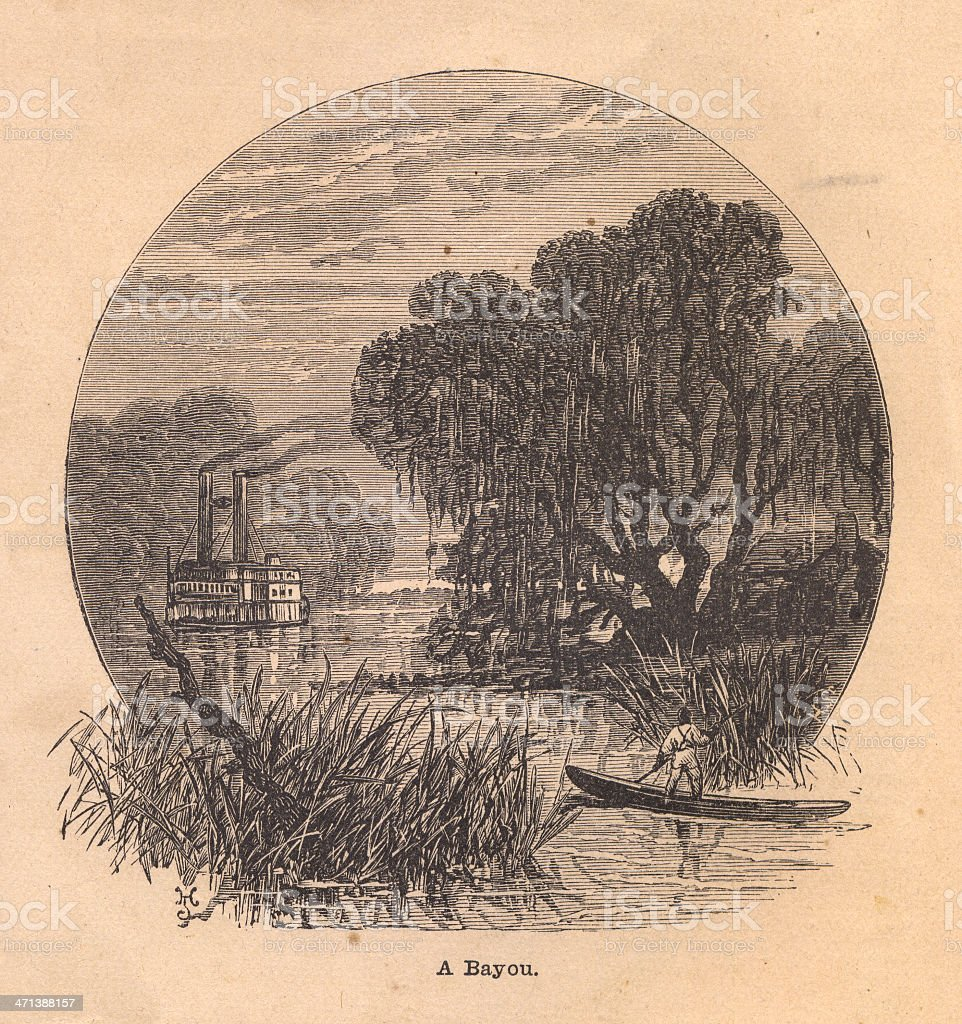 Old Black and White Illustration of Bayou, From 1800s royalty-free stock vector art