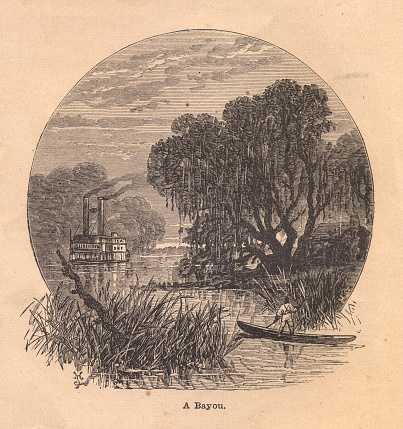 Old Black and White Illustration of Bayou, From 1800s