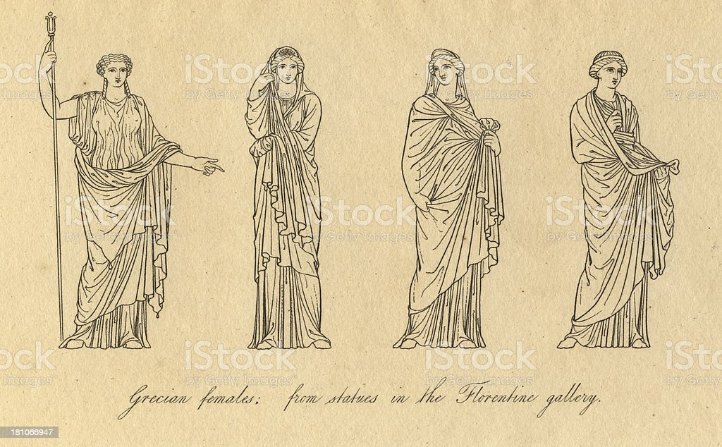 Old Black and White Illustration of Grecian Female Costumes royalty-free old black and white illustration of grecian female costumes stock vector art & more images of 1810-1819