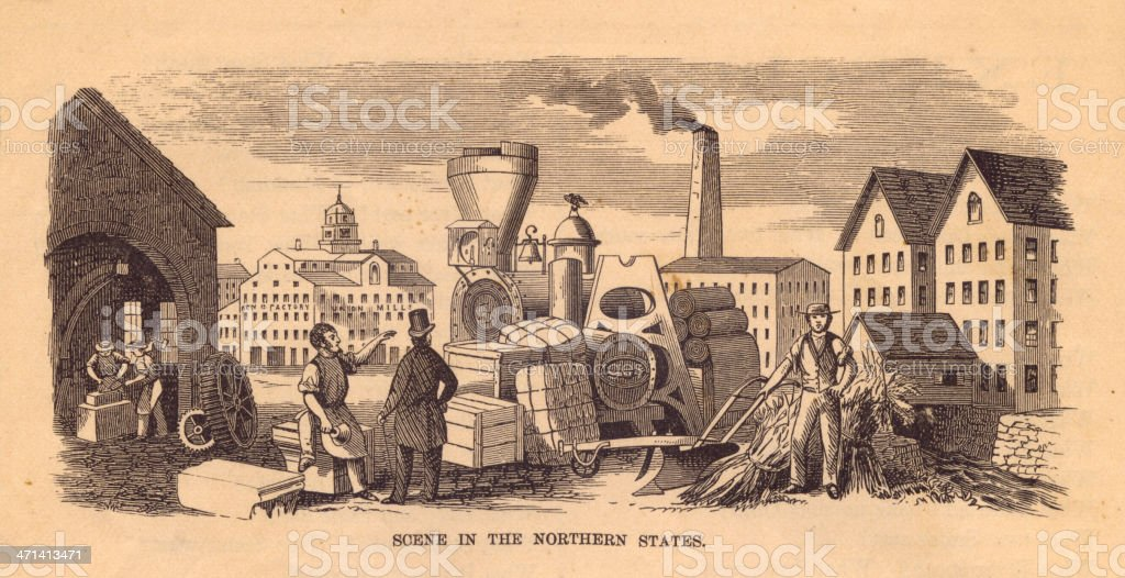 Old, Black and White Illustration of Northern State Scene, 1867 royalty-free old black and white illustration of northern state scene 1867 stock vector art & more images of 1860-1869