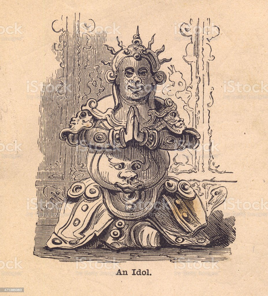 Old, Black and White Illustration of Pagan Idol royalty-free stock vector art
